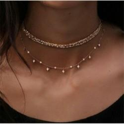 * 94 Aranycsillag lánc - Divat női többrétegű choker gallér medál lánc előke nyaklánc Boho ékszerek