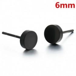 6mm - Női férfi fülbevaló fekete kerek alakú fülbevaló fülbevaló rozsdamentes acél ékszer