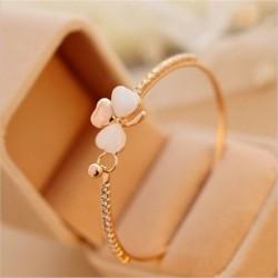 * 12 1db virág - Női arany egyszerű szerelmes szív csomólánc nyitott mandzsetta karkötő karkötő ékszer ajándék