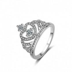 8. - Divat 925 ezüst korona fehér zafír Birthstone esküvői nászgyűrű Sz 6-10