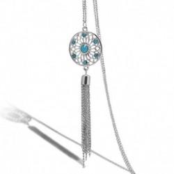9 * Ezüst - Női divat kristály medál hosszú bojt lánc pulóver nyaklánc ékszer ajándék