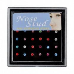 24db Többszínű - Divat női kristály strassz orr gyűrű csont csavar test testpiercing ékszer ajándék