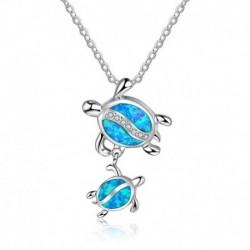 * 2 - Női 925 ezüsttel töltött kék opál tengeri teknős kivágott medál nyaklánc tengerparti ajándék