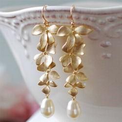 Nincs szín - 1 pár arany orchidea matt arany virág elegáns hosszú füles akasztós fülbevaló ékszer