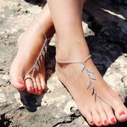 Nincs szín - Boho szexi ezüst leveles bokalánc lánc boka karkötő mezítláb szandál láb ékszerek