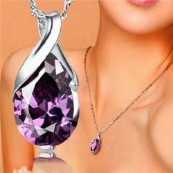 Nincs szín - Divat ezüst drágakő kristály gyógyító pont csakra kő ametiszt medál ékszerek