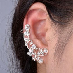 Ezüst pillangó virág - Női retró klip fül mandzsetta csap strasszos kristály pakolás porc fülbevaló ékszerek