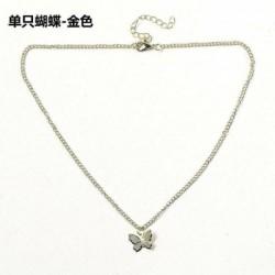 1-pillangó / arany - Divat női arany ezüst pillangó medál nyaklánc choker lánc ékszerek USA