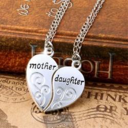 Ezüst színű szív alakú Anya-Lánya páros medál lánccal - Elegáns nyaklánc