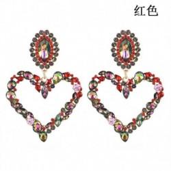 Piros - Színes, teljes kristályú, nagy szívű csüngő fülbevalók női nyilatkozat ékszerek