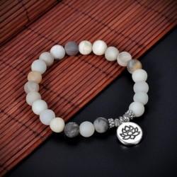 Amazonite Lotus - Unisex matt amazonit kő OM Lotus Buddha csakra Mala gyöngy jóga karkötő