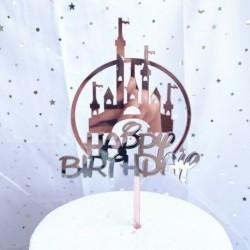 Happy Birthday - Rózsaarany színű kastéllyal - Ezüst színű felirattal akril tortadísz szülinapra - 8
