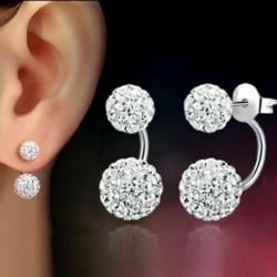 Ezüst* - Koreai stílusú kristály hosszú bojt fülbevalók Drop Dangle női party ékszerek ÚJ