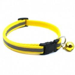 Sárga - 1db fényvisszaverő macska nyakörv harang nylon aranyos macskafej biztonsági csattal pet nyakörv
