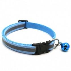 Kék - Állítható fényvisszaverő, leválasztható nejlon macska biztonsági gallér haranggal a macska cica számára