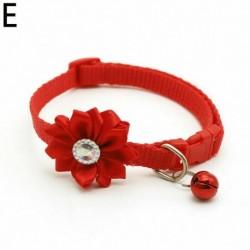 Piros - Kisállat állítható haranggallér strasszos virág cica macska kölyök kutya csat gallér