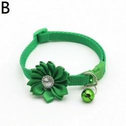 Zöld - Kisállat állítható haranggallér strasszos virág cica macska kölyök kutya csat gallér