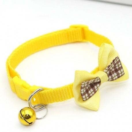 * 2 Sárga - Csokornyakkendő állítható cica nyakkendő gallér Bowknot Dot Bell Cat kisállat kiskutya