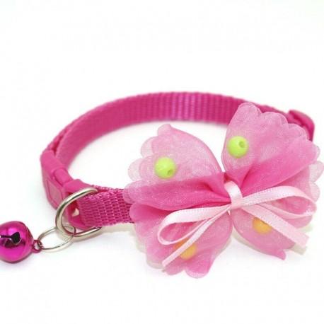 * 3 rózsaszínű - Csokornyakkendő állítható cica nyakkendő gallér Bowknot Dot Bell Cat kisállat kiskutya