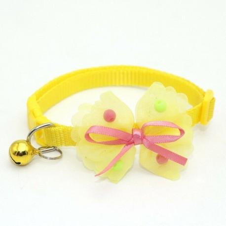 * 3 sárga - Csokornyakkendő állítható cica nyakkendő gallér Bowknot Dot Bell Cat kisállat kiskutya