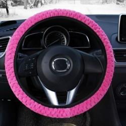 Rózsavörös - Univerzális puha meleg plüss burkolatok az autó kormánykerék burkolata Autó stílusú gyöngy bársony