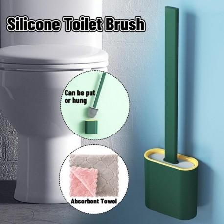 A - AKCIÓ Fali szilikon WC-kefe Puha gumi hosszú nyélű WC-kefe és Rongyszett tisztító kefe Fürdőszoba kiegészítők