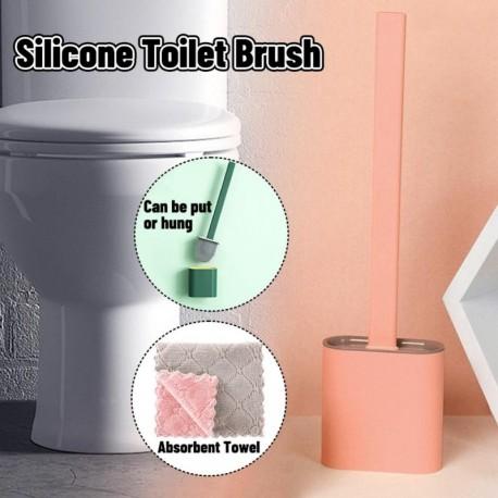 C - AKCIÓ Fali szilikon WC-kefe Puha gumi hosszú nyélű WC-kefe és Rongyszett tisztító kefe Fürdőszoba kiegészítők