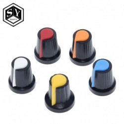 5PCS / tétel WH148 potenciométer gomb kupakja (rézmag) 15X17mm 6mm tengelylyuk AG2 sárga narancs kék fehér piros 5érték
