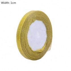 arany-1cm - 25Yards arany ezüst selyem szatén szerves szalag csillogó hímzett szalagok esküvői torta ajándék dekoráció