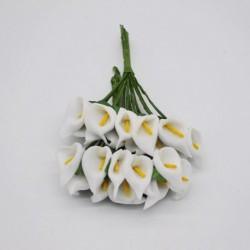 fehér - 36db Mini PE Calla Lily művirág csokor többszínű rózsa esküvői party virág dekoráció scrapbooking hamis