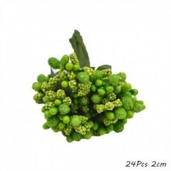 24db 2cm - Zöld téma Mesterséges virág cseresznye porzó bogyók csomag DIY karácsonyi dekoráció esküvői torta