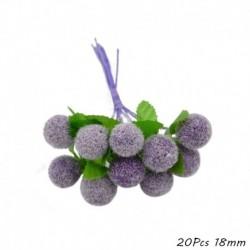 20db 18mm - Mix lila művirág cseresznye porzó bogyók köteg barkácsolás karácsonyi dekoráció esküvői torta ajándék
