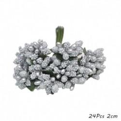 F04 - Mix ezüst művirágok cseresznye porzó bogyók csomag DIY karácsonyi esküvői torta ajándék doboz koszorúk