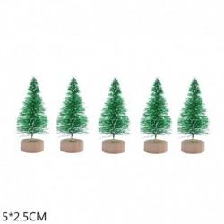 5cm-zöld - 5db 5-16cm szizál rost mini karácsonyfa hó fagy fenyő fa barkács kézműves karácsonyi party asztali