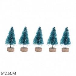 5cm-kékeszöld - 5db 5-16cm szizál rost mini karácsonyfa hó fagy fenyő fa barkács kézműves karácsonyi party asztali