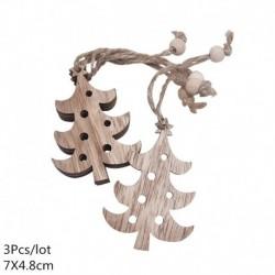 9. stílus - 3db szüreti fa medálok díszek Mikulás barkácsolás fa kézműves termékek karácsonyi díszek karácsonyi