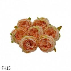 15 - 1 db 8 cm-es mesterséges bazsarózsa virágfejek DIY selyem virágfej esküvői otthoni parti dekorációs virágok hamis