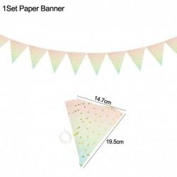 1set papír szalagcím - Pöttyös eldobható evőeszköz készlet papírlemez csésze felnőtt gyerekek egyszarvú