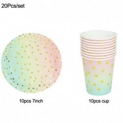 20db készlet - Pöttyös eldobható evőeszköz készlet papírlemez csésze felnőtt gyerekek egyszarvú születésnapi party