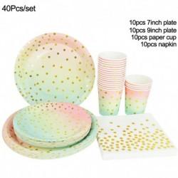 40db készlet - Pöttyös eldobható evőeszköz készlet papírlemez csésze felnőtt gyerekek egyszarvú születésnapi party