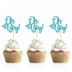 kék ó fiú - 10db arany ó baba cupcake topper fiú lány baba zuhany nemi felfedi gyerekek 1. születésnapi party