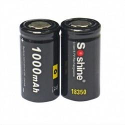 2db Soshine 18350 Li-ion akkumulátor 3.7V 1000mAh újratölthető akkumulátor