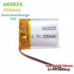 1 DB - 602025 3,7 V 250 mAh lítium akkumulátorok MP3 MP4 MP5 GPS PSP mobil bluetooth headset hangszóró Li-Po li ion