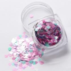 01 - 1Box vörös köröm csillogó pelyhek szerelmes szív alakú csúszó fényes flitteres szerelem szív alakú laza