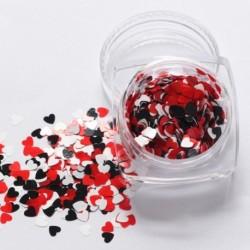 04 - 1Box vörös köröm csillogó pelyhek szerelmes szív alakú csúszó fényes flitteres szerelem szív alakú laza