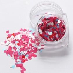 10. - 1Box vörös köröm csillogó pelyhek szerelmes szív alakú csúszó fényes flitteres szerelem szív alakú laza