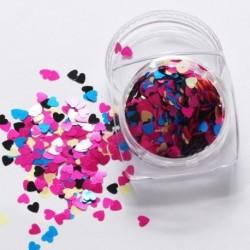 08 - 1Box vörös köröm csillogó pelyhek szerelmes szív alakú csúszó fényes flitteres szerelem szív alakú laza