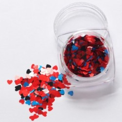 09 - 1Box vörös köröm csillogó pelyhek szerelmes szív alakú csúszó fényes flitteres szerelem szív alakú laza