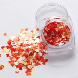 12. - 1Box vörös köröm csillogó pelyhek szerelmes szív alakú csúszó fényes flitteres szerelem szív alakú laza