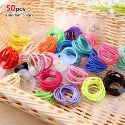 50db véletlenszerű szín - 10 / 50PCS női lányok hajkötél cukorkák egyszínű egyszerűség haj kiegészítők gumiszalag